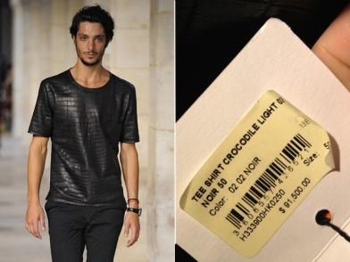 A camiseta feita de couro legítimo está à venda em Nova York