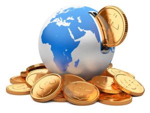 earth moneybox and golden dollar coin